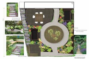 Tuinontwerp met natuurlijke lijnen, wilde bloemen en wilgenbakken
